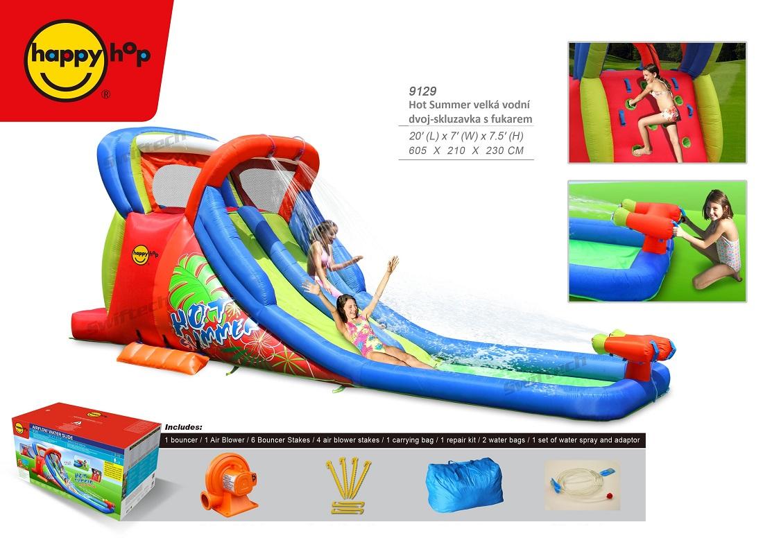 Hot summer double water slide 9129, happy hop vodní dvoj-skluzavka