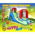 Happy Hop Vodní zábavný aqua s bazénem, skluzavkou. Ventilátor, kolíky, přepravní taška.