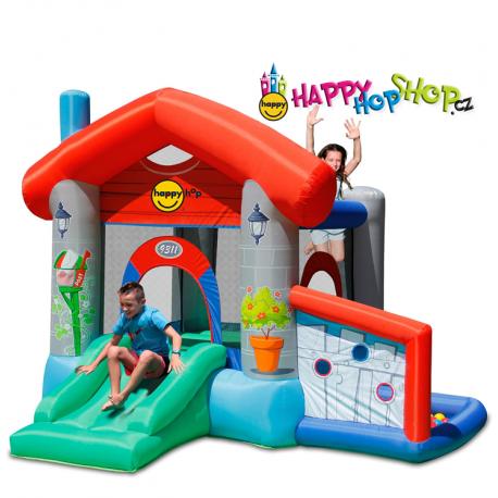 Happy Hop Skákací párty domeček , skákací hrad se skluzavkou a míčky