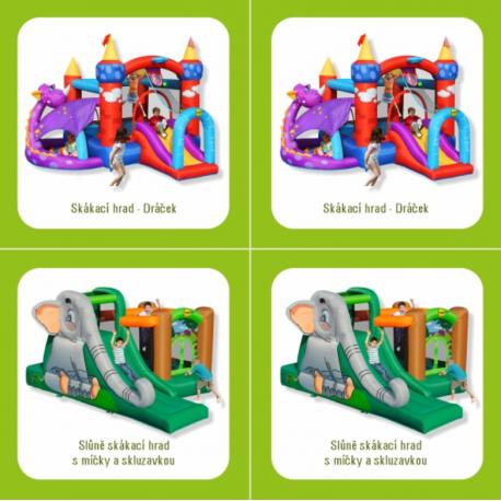Skákací hrady, skluzavky a nafukovací zábavná centra značky Happy Hop