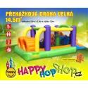 Happy Hop Překážková dráha velká nafukovací hrad s překážkami, tunelem a skluzavkou.