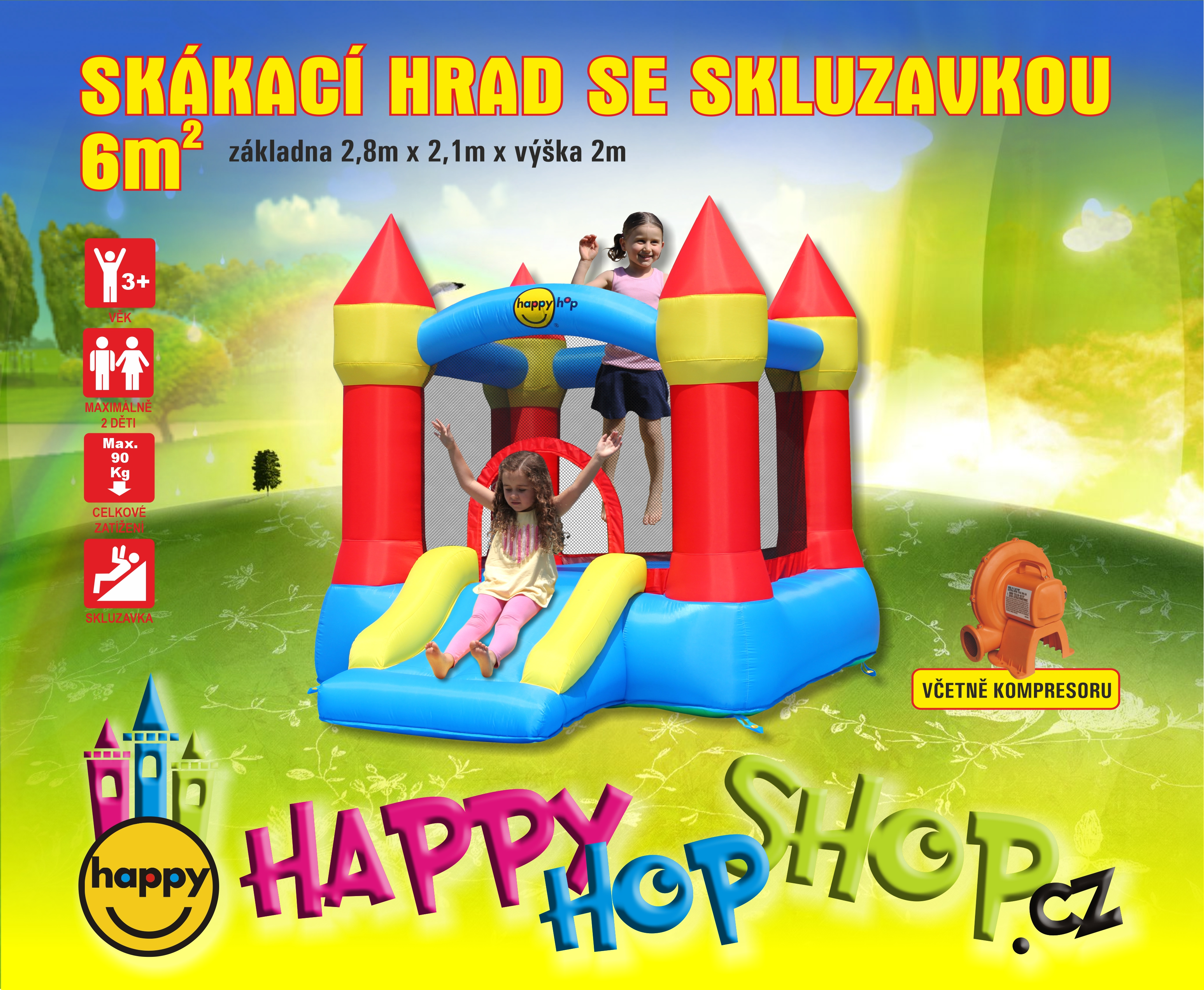 Happy Hop 9221 Bouncer with slide and hoop