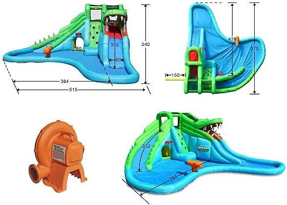 Happy Hop 9517 skákací hrad Crocodile water slide
