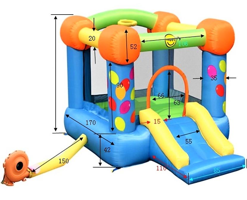 Skákací hrad party barevné balónky happy hop 9070