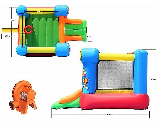 Happy Hop 9070N létající balóny Hot Air Balloon Slide and Hoop Bouncer
